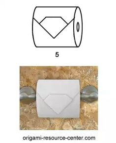 This toilet paper origami gem is a gem of a model. It is easy to make and it gives your toilet paper rolls a bit of finesse elevating it a notch above the classic triangle fold. Napkin Folding, Book Folding, Paper Folding, Toilet Paper Origami, Toilet Paper Roll, Star Wars Origami, Towel Animals, Shampoo Bottles, Paper Book