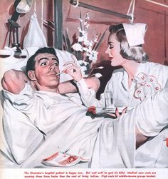 """A Nurse and her happy patient. ~ Paul Burns illustration to May 1952 Sunday Mirror Magazine article,""""Hospital Headache the Doctors Are Trying to Change. Nurse Pics, Nurse Stuff, History Of Nursing, Journal Vintage, Nurse Art, Vintage Nurse, Nursing Notes, Retro Advertising, Norman Rockwell"""