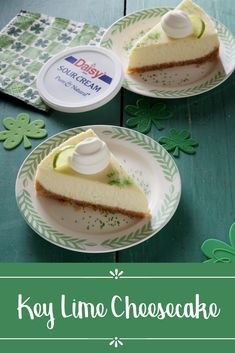 This simple Key Lime Cheesecake is the perfect St. Patrick's Day dessert recipe.