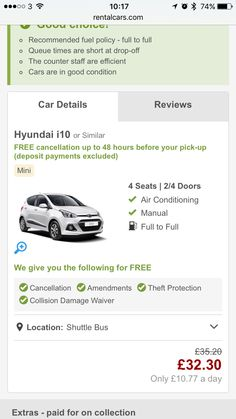 Car hire £32 fri to Monday