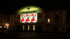 "Light show on the facade of the theatre ""del Giglio"" in Lucca"