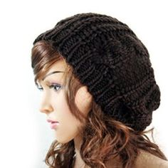 Winter Women Lady Baggy Beret Chunky Knitted Braided Beanie