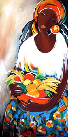 Mama with Fruit Painting  - Mama with Fruit Fine Art Print