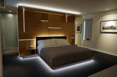 Exceptional Bamboo Bedroom With LED Strip Lighting