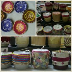 Diya and candles,  Cone painting and lace decoration