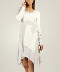 Love this Ecru & Gray Patchwork Handkerchief Dress by L33 by Virginie&Moi on #zulily! #zulilyfinds