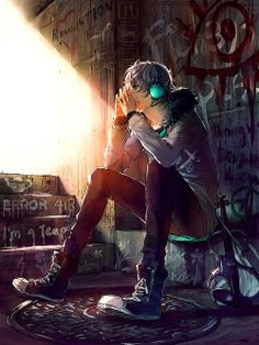 This art is so... incredible. I feel so much looking this guy how he is sitting there in front of the wall full of graffitti and I can feel his thoughts... Feel the same...