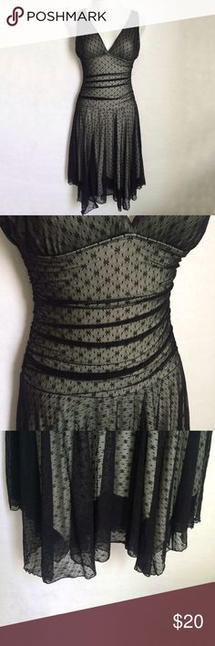 "✨NEW Listing✨Black overlay v-neck dress Beautiful stretch pull-on black overlay dress with a dot and star pattern all over. Has a v-neck, fitted bodice, and shark bite hem. There are no labels on this (brand, size, or fabric content). This would fit a 2/4 best. The mannequin measures 35.5"" bust and 27"" waist for comparison. ⏸ Dresses Midi"