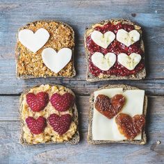 Breakfast idea: savory and sweet toasts with vegan cheese, sundried tomato pesto, peanut butter & raspberry chia jam.