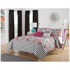 Harmony At Home Flower Power 5-Piece Reversible Bedding Comforter Set - Walmart.com