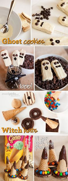 Ghost and Witch Hat Halloween Snacks Recipes.- So cute! Can't wait to try all of these!