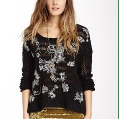 """SALE!❤️Free People Knit Sweater Final priceNo Offers-New with tags. Oversized styling. Lightweight black embroidered sweater. So pretty!  White floral pattern woven throughout front of sweater. Light and airy!  Size XS, but is oversized and would easily fit a Small also. Cotton/Acrylic knit. Measures:  24"""" armpit to armpit and 19"""" long.  No trades. Free People Sweaters"""