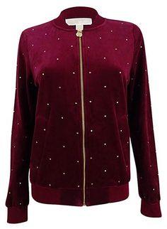 Michael Michael Kors Women Embellished Velour Bomber Jacket merlot