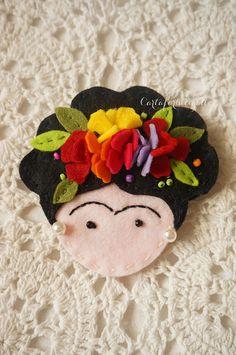 Frida Kahlo felt brooch - Spilla feltro Frida Kahlo