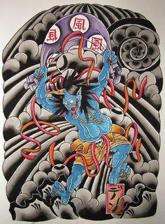 Japanese Fujin Tattoo Design