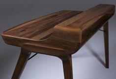 The Most Popular Wooden Writing Desk Design — Home Inspirations Custom Made Furniture, Solid Wood Furniture, Office Furniture, Furniture Design, Modern Office Table, Home Studio Desk, Writing Desk With Drawers, Wood Computer Desk, Bureau Design