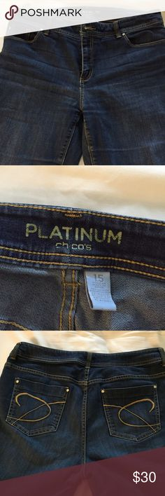Chico's platinum blue jeans - size 1.5 Platinum blue jeans by Chico's - size 1.5. Straight leg no flare Chico's Jeans Straight Leg