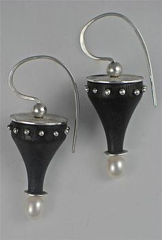 Curved Ebony Earrings with Silver Discs, Studs and Pearls by Suzanne Linquist