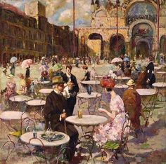 """""""Caffè in piazza, Venezia"""" - Vincenzo Irolli"""