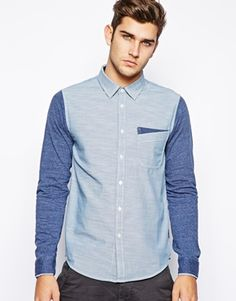 Izzue Chambray Shirt With Jersey Sleeves
