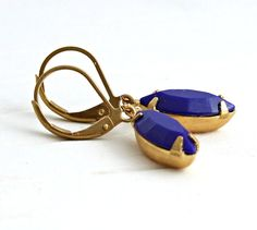 Royal Blue Earrings .. blue earrings small by beadishdelight