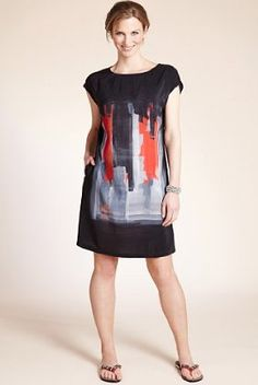 Twiggy for M Woman Slash Neck Placement Print Dress