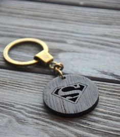 Supermen wooden key chain Comics Keychain Gift for Him Dad Men Wood Housewarming...