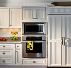 Attrayant White Wainscoting Kitchen | Added To Kitchen Cabinets (this Could Be Done  Very Easily With .