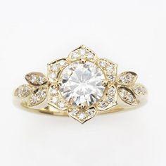 Unieke verlovingsring, Vintage Lily Ring, 14K Gouden Ring met Pave Diamond Ring, Leaf Ring, Art Deco verlovingsring, Flower Ring