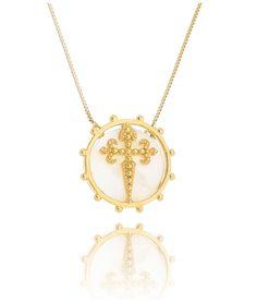 colar cruz com madreperola semi joias douradas