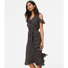 LOFT Tall Ruffled Floral Wrap Dress ($90) ❤ liked on Polyvore featuring dresses, black, cutout shoulder dresses, v-neck dresses, ruffle sleeve dress, violet dress and cold shoulder dress