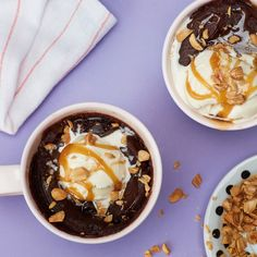 Gooey Chocolate Microwave Mug Cake With Caramel Sauce and Peanuts