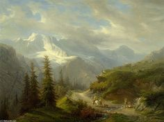 Voir: Mürren Le Ebnefluh de Francois Diday (1802-1877, Switzerland) Fantasy Landscape, Landscape Art, Landscape Paintings, Hudson River School, Traditional Paintings, Environment Design, 2d Art, Mountain Landscape, Concept Art