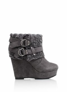 sweater cuff wedge booties - These are adorable!  I wish I could still wear heels without my toe killing me!  Another reason growing older sucks!