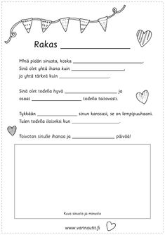 Early Education, Early Childhood Education, Finnish Language, Diy And Crafts, Crafts For Kids, Kids And Parenting, Cute Couples, Fathers Day, Free Printables