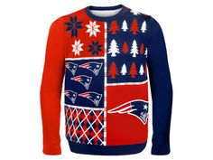 New England Patriots Forever Collectibles NFL Men's Busy Block Ugly Sweater