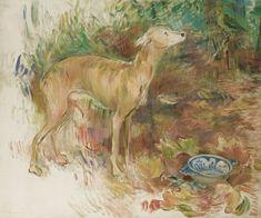 This dog was a gift from the poet Stéphane Mallarmé to Berthe Morisot's daughter Julie. He baptised it Laërte. Berthe Morisot, La levrette Laërte (Laerte The Greyhound), Oil on canvas, x. Anime Comics, Renoir, Julie Manet, Art Nouveau, Catalogue Raisonne, Monet, Berthe Morisot, Greyhound Art, Wall Art Prints