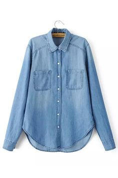 Denim Shirt In Mid Wash from mobile - US$23.95 -YOINS