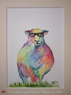 """No. 003 der wandklex-Unikatserie """"Ich war schon immer das Bunte Schaf der Familie"""" - nummerierte Einzelstücke! Ihr eigenes Schaf können Sie als Ihr Designerstück von wandklex® Ingrid Heuser, Ratzeburg, Germany bestellen:  im kleinen Klexshop bei DaWanda auf http://de.dawanda.com/shop/wandklex ©  Kunstatelier wandklex Ingrid Heuser, D-Ratzeburg Besuchen Sie mich auch auf facebook: https://www.facebook.com/wandklex"""