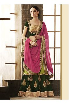 Salwarweb-Green Velvet Wedding Wear Heavy Embroidery Work Lehenga Choli Nakkashi