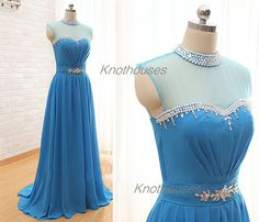 Beaded neck Sheer bust front Blue chiffon Prom dress  V-Halter Aqua Chiffon prom dress/ Beaded Halter dress/ Floor length Homecoming dress  This dress can be custom made, both size and color can be custom made. Custom size and color made will charge for no extra. If you need a custom dress, ...