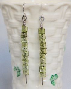 Peridot Heishi Bead Linear Dangle Earrings, Sterling Silver Wire Wrapped, Green Gemstone Handmade Jewelry, August Birthstone, Statement by AdornmentsAndFrills on Etsy