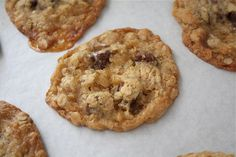 "Toffee Crunch Cookies.  ""Tastes like a rice crispy treat, but with oats and chocolate chips … and in cookie form."""