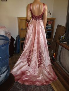 Gothic Wedding Gown Hand Dyed and Painted Princess Bride Halloween Costume Party Corpse Bride. $195.00, via Etsy.