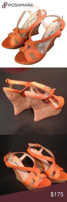 52128c5dc43f Miu miu orange wedges Super trendy miu miu wedges, size In EUC! 🧡 made in  Spain. Price is negotiable, offers welcome Miu Miu Shoes Wedges