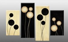 "Large Black and Cream Abstract Canvas artwork Picture 4 pieces multi panel split canvas completely ready to hang hanging cord attached, hanging template included for easy hanging, hand made printed to order UK company 40"" width 28"" height: Amazon.co.uk: Kitchen & Home"