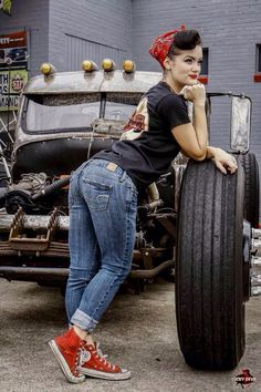 Kimber Fox Rockabilly Pinup by Lucky Devil Red Converse Hi Tops Denim Upturned Jeans Diner/Bowler Shirt Red Bandana Pinup Hair Car Yrd Tyre Mechanic Garage Work
