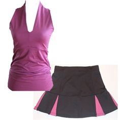 New black and pink #golf skort with compression fabric to tone and shape your body. Gotta love that!!