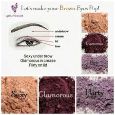 Make your beautiful brown eyes pop using Younique's Mood struck Mineral pigments in the colors sexy, glamorous, and flirty. For a more fun/pop of purple try swapping royal in instead of glamorous! www.youniqueproducts.com/khudak