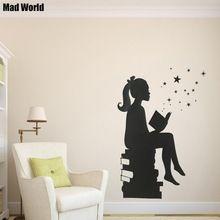 Mad Świata-Dziewczyna Czytanie Książek Sylwetka Wall Art Naklejki Ścienne Kalkomania Home DIY Dekoracji Wystrój Pokoju Naklejki Ścienne Wymienny()